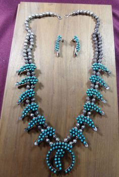 Vintage Old Pawn Silver Turquoise Native American Squash Blossom Necklace 10 GR. #Unbranded