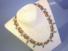 Beading Kit and Tutorial - Cherry Necklace -Vexolo, WibeDuo, Baroque cab, Gekko, O beads, Daggers O Beads, Seed Beads, Necklace Lengths, Beaded Necklace, Cherry Necklace, Aztec Gold, Bead Kits, Earring Tutorial, Beading Tutorials