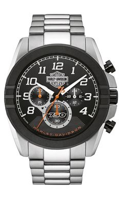Harley-Davidson® Men's Bulova Bar & Shield Two-Tone Stainless Steel Watch 76B175 #Bulova #Sport