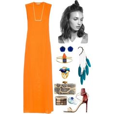 Orange by roxanna-kingston on Polyvore featuring Lucas Nascimento, Reed Krakoff, Marchesa, Anni Jürgenson, Bounkit, From St Xavier, Kate Spade, Too Faced Cosmetics, Nivea and summerdress