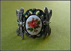dragonfly and rose ring