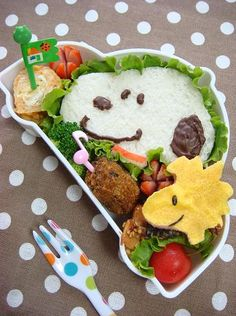 Bento boxes are a lot of work! When I want to make an artistic lunch for my chil… Bento boxes are a lot of work! When I want to make an artistic lunch for my child, I get a Sharpie and draw a little picture on the Uncrustables wrapper. Kawaii Bento, Cute Bento, Bento Recipes, Baby Food Recipes, Bento Ideas, Food Art For Kids, Japanese Lunch Box, Bento Box Lunch, Food Humor