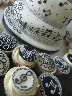 i just like the cake - especially with the sparkle. just one tier for cutting cake Music Cupcakes, Fancy Cupcakes, Baking Cupcakes, Yummy Cupcakes, Cupcake Recipes, Cupcake Cakes, Themed Cupcakes, Bolo Musical, Music Themed Cakes