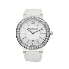 Swarovski 1094360-new Ways to Style Watch #DesignerPoshWatches #forhim #Gift #Watches #Watchcollection #UK #Classic_Watches #BestGifts #Trends_Watch #Watchoholic #forwomen #Wristwatch #quartzwatch #watch #time #watchlover #watchaddict #watchoftheday #luxurylifestyle #watchesfor Swarovski Watches, Armani Watches For Men, Quartz Watch, Fashion Watches, White Leather, Swarovski Crystals, Bracelet Watch, Silver, Accessories