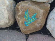 Cool Hummingbird Rock I painted with Teal blue and light green colors!  I love hummingbirds, they are so cool to watch!