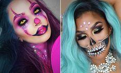 41 Unique Halloween Makeup Ideas from Instagram | StayGlam Unique Halloween Makeup, Halloween Makeup Sugar Skull, Sugar Skull Makeup, Unique Makeup, Sugar Skulls, Demon Makeup, Creepy Makeup, Zombie Makeup, Bright Eye Makeup