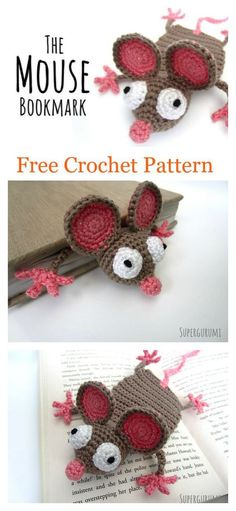 This Mouse Bookmark's sheer cuteness will make it an instant hit. This Amigurumi Mouse Bookmark Free Crochet Pattern helps you Crochet Mouse, Crochet Gifts, Cute Crochet, Crotchet, Crochet Food, Crochet Patterns Amigurumi, Crochet Dolls, Crochet Stitches, Crochet Bookmark Patterns Free