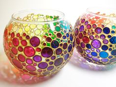 Set of 2 Candle Holders Rainbow Bubbles Hand Painted by ArtMasha