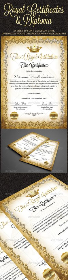 Royal Certificates Template PSD. Download here: http://graphicriver.net/item/royal-certificates/886015?s_rank=1118&ref=yinkira