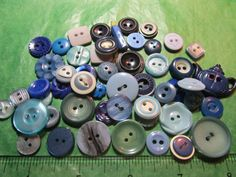 "45+  3/8"" - 1"" BLUE PLASTIC 2-HOLE CRAFT BUTTONS - ASSORTED VINTAGE Lot#K572"