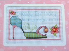 0 point de croix chaussure - cross stitch shoe happy birthday  style