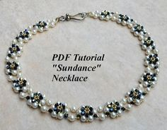 """Bead Woven Necklace Pattern with Pearls, """"Sundance"""" Tutorial Pearl Beads Pattern, Beaded Necklace Patterns, Beaded Jewelry, Jewellery, Seed Bead Necklace, Diy Necklace, Pearl Necklace, Beading Tutorials, Beading Patterns"""