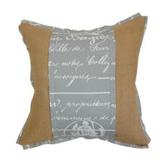 Burlap pillow with script detail and down fill. Made in the USA.   Product: PillowConstruction Material: Cotton cover and 95/5 down fillColor: Natural and storm twillFeatures:  Insert includedHidden zipper closureMade in the USA Cleaning and Care: Spot clean