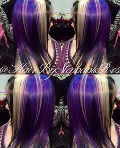 Blue black purple dyed hair color @hairbystephanierose