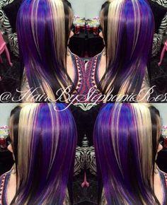 Blue black purple dyed hair color @hairbystephanierose