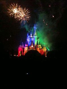 rainbow Disney World castle in February