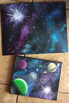 How To Paint A Galaxy and Planets with Acrylics - Step By Step Painting
