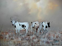 Nguni cattle by Edward Selematsela Cow Painting, Ceramic Painting, Cow Pictures, Cow Pics, Zebu Cattle, Provinces Of South Africa, Longhorn Cattle, Wooly Bully, Dairy Cattle