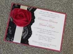 LEXY- Red Black and White Wedding Invitations - Customizable Lace Invitation