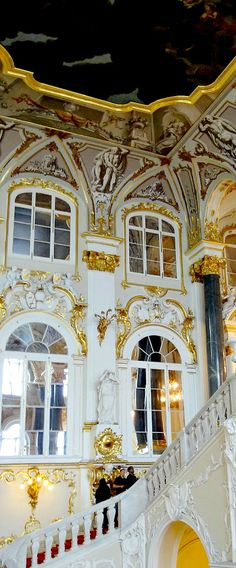 INTERIOR: Grand staircase in the Winter Palace. RUSSIA