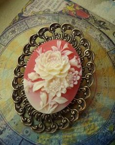 Neo-Victorian Steampunk Valentine - A mixture of stone cameo, vintage filigree, pin back.