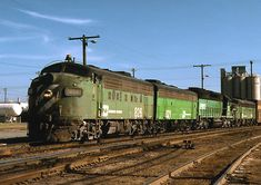 Burlington Northern freight train led by EMD F units.