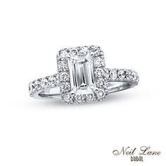 Neil Lane Bridal® Collection 2 CT. T.W. Emerald-Cut Diamond Frame Engagement Ring in 14K White Gold - View All Rings - Zales