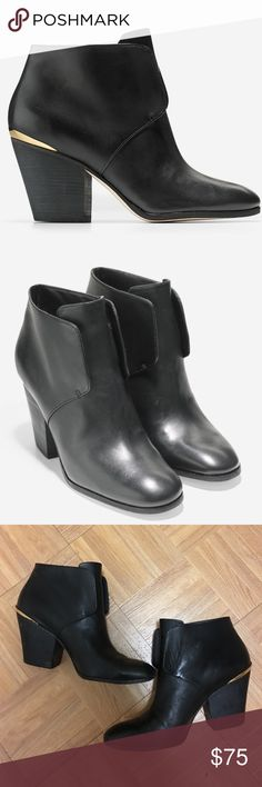 Cole Haan Booties, Gold Detail on Heel, Size 10 Black slip on booties with gold detail on heel. They are a size 10 and there are some scuffs to the shoe. They have been worn barely before and they are in great condition. Cole Haan Shoes Ankle Boots & Booties