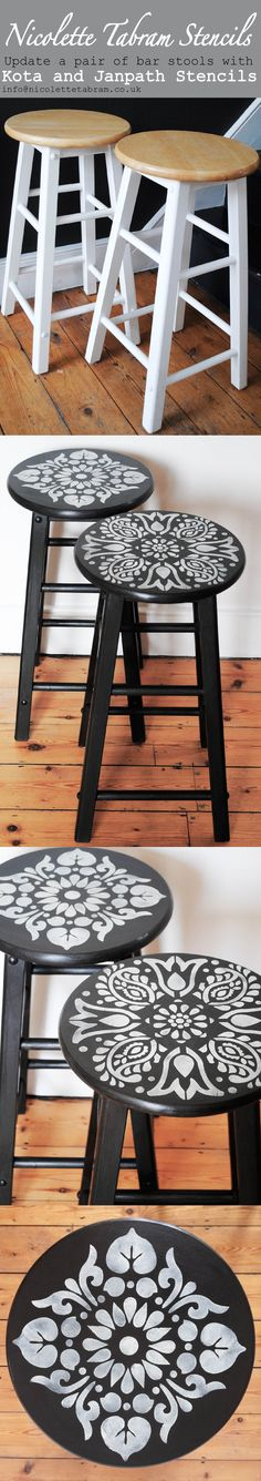 Transform a pair of bar stools with a pair of mismatched stencils.  #nicolettetabramstencils #stencils #paintedfurniture  nicolettetabram.co.uk
