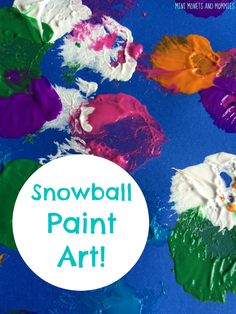 Abstract art activity! Turn cotton balls into mini snowballs for a fun kids' paint project.