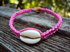 Cowrie Shell Macrame Hemp Bracelet Pink For Women by JackZenHemp, $10.00
