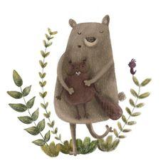 Unwanted hug Cute Paintings, Cute Doodles, Love Painting, Cute Illustration, Game Character, Book Design, Kawaii, Watercolor, Bears