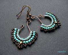 Turquoise and Bronze pendant earrings ~ moonsafari beads