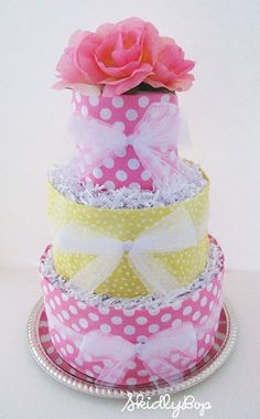 Diaper Cake covert this into a bridal ,,cake using dish towels