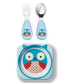 Skip Hop - $10 / $7.99 Look what I found on #zulily! Blue Owl Zoo Bowl & Utensil Set #zulilyfinds