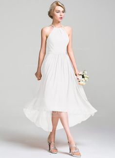 A-Line/Princess Scoop Neck Asymmetrical Chiffon Bridesmaid Dress With Ruffle (007087726)