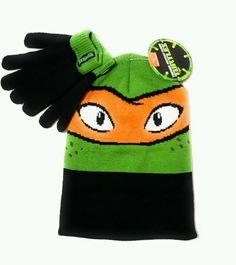 8544f8361a2 Teenage Mutant Ninja Turtle Hat Mittens Gloves Kids Boys Girls One Size Cap
