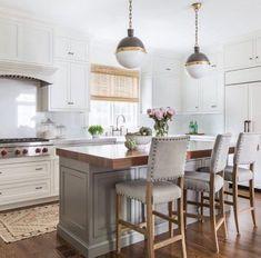 New kitchen cabinets modern farmhouse bar stools 68 ideas Stools For Kitchen Island, Grey Kitchen Cabinets, Counter Stools, Kitchen Islands, Kitchen Grey, White Cabinets, Kitchen Countertops, Gray Countertops, Narrow Kitchen