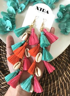 The Jada Earring - Color Diy Tassel Earrings, Fabric Earrings, Fabric Jewelry, Shell Earrings, Statement Earrings, Tassel Jewelry, Diy Jewelry Set, Handmade Jewelry Designs, Jewelry Crafts