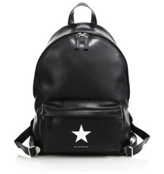 """small star leather backpack by Givenchy. Buttery leather backpack with contrast star detail. Top handle, 2"""" drop. Adjustable backpack straps. Zip-around closu..."""