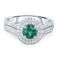 1/2 ct. tw. Diamond & Emerald Halo Ring in 14K Gold, available at #HelzbergDiamonds