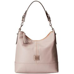 Dooney & Bourke Seville Sophie Hobo (Oyster w/ Self Trim) Hobo... ($328) ❤ liked on Polyvore featuring bags, handbags, shoulder bags, shoulder handbags, white leather handbags, leather hobo handbags, white leather purse and hand bags