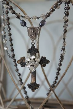 Venice Revisited-Vintage assemblage necklace aged cross rhinestones rosary beads large cross assemblage jewelry - by French Feather Designs....