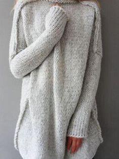 Gray High Neck Drop Shoulder Knit Sweater