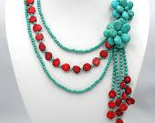 bridesmaid gift,turquoise necklace,Beaded Necklace,Beaded Jewelry  With Turquoise Red Coral