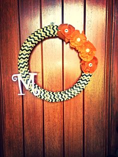 DIY fall wreath!! Super easy and love it on my front door!