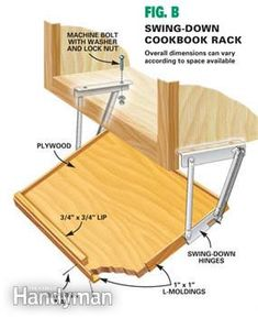 Dimensions for cookbook rack