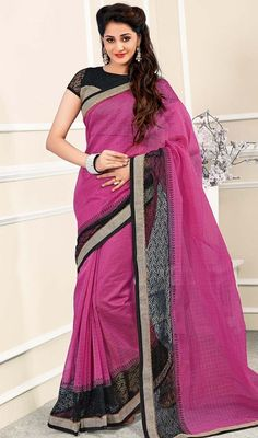 Elevate your style quotient donning this pink color net and chanderi silk sari. This beautiful attire is showing some amazing embroidery done with lace work. #netbordersaree #latestdesignsarees #fushiacolorsari
