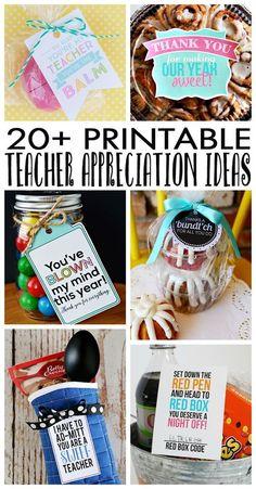 Over 20 Teacher Appreciation Ideas with free printables!