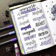 Headers are an understated, yet huge part of bullet journaling. Check out these amazing bullet journal header ideas organized by month. Bullet Journal Headers, Bullet Journal Lettering Ideas, Bullet Journal Banner, Bullet Journal Printables, Bullet Journal Notebook, Bullet Journal Layout, Bullet Journal Inspiration, Journal Ideas, Tittle Ideas